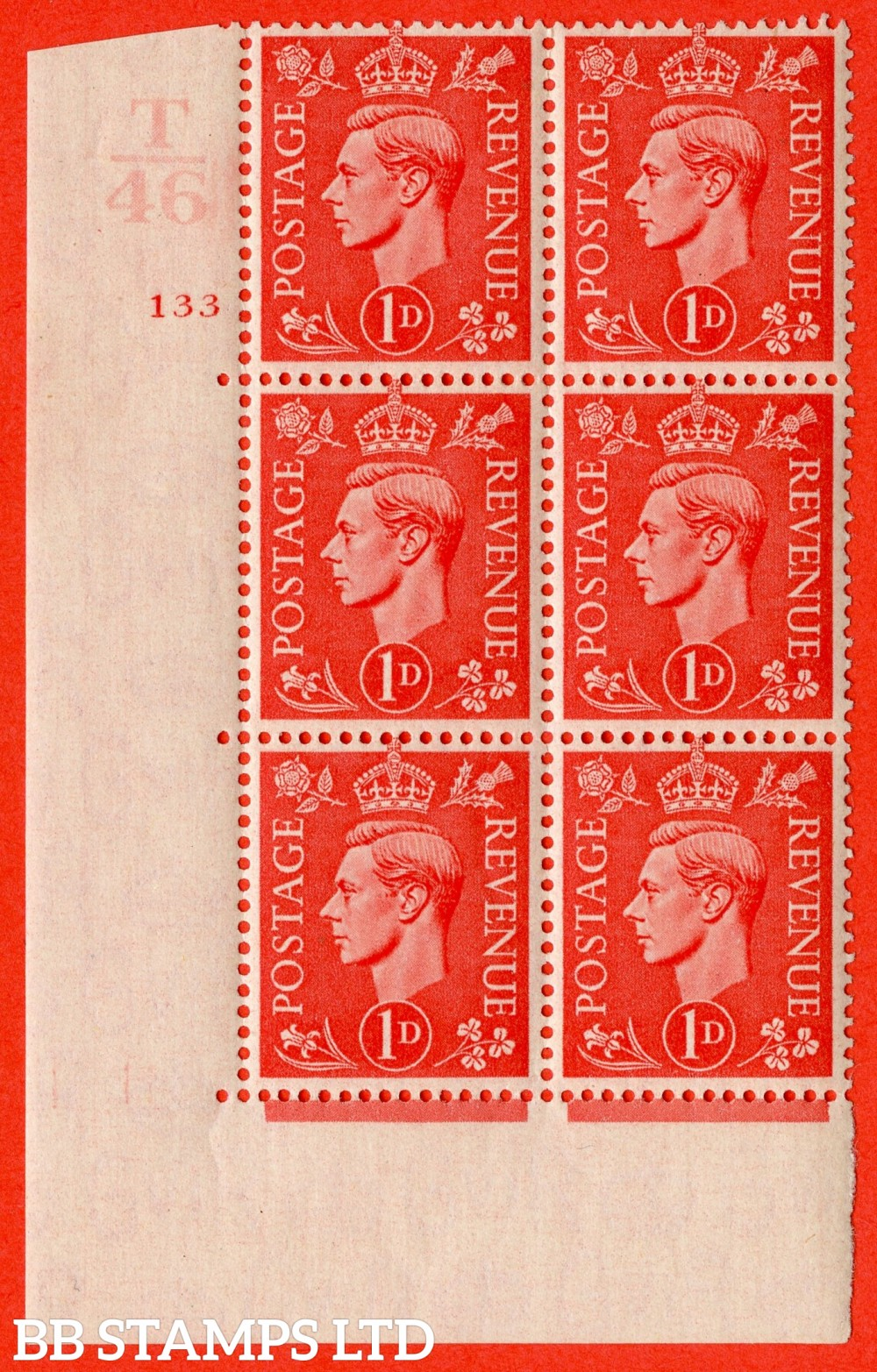 "SG. 486. Q5. 1d Pale scarlet. A fine lightly mounted mint "" Control T46  cylinder 133 no dot "" control block of 6 with perf type 5 E/I."