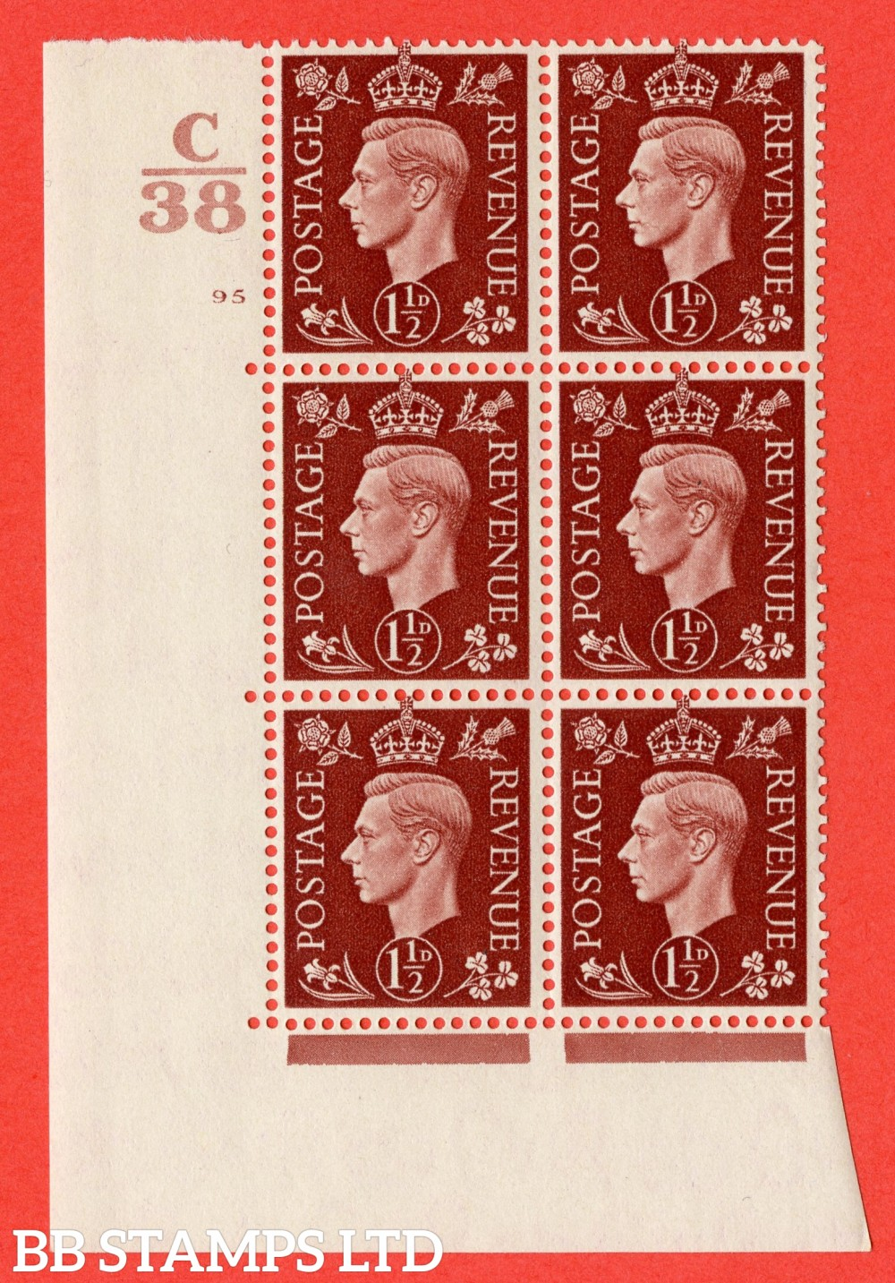 """SG. 464. Q7. 1½d Red-Brown. A superb UNMOUNTED MINT """" Control C38 cylinder 95 no dot """" block of 6 with perf type 5 E/I."""