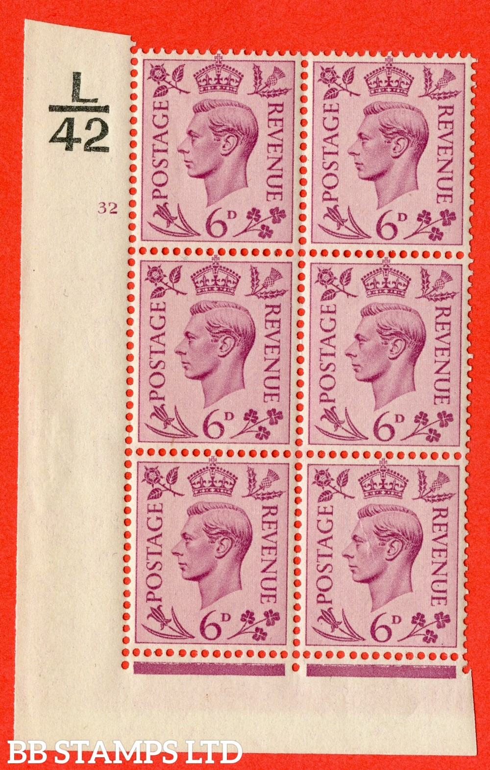 """SG. 470. Q22. 6d Purple. A fine lightly mounted mint """" Control J41 cylinder 32 dot """" control block of 6 with perf type 2 E/I"""