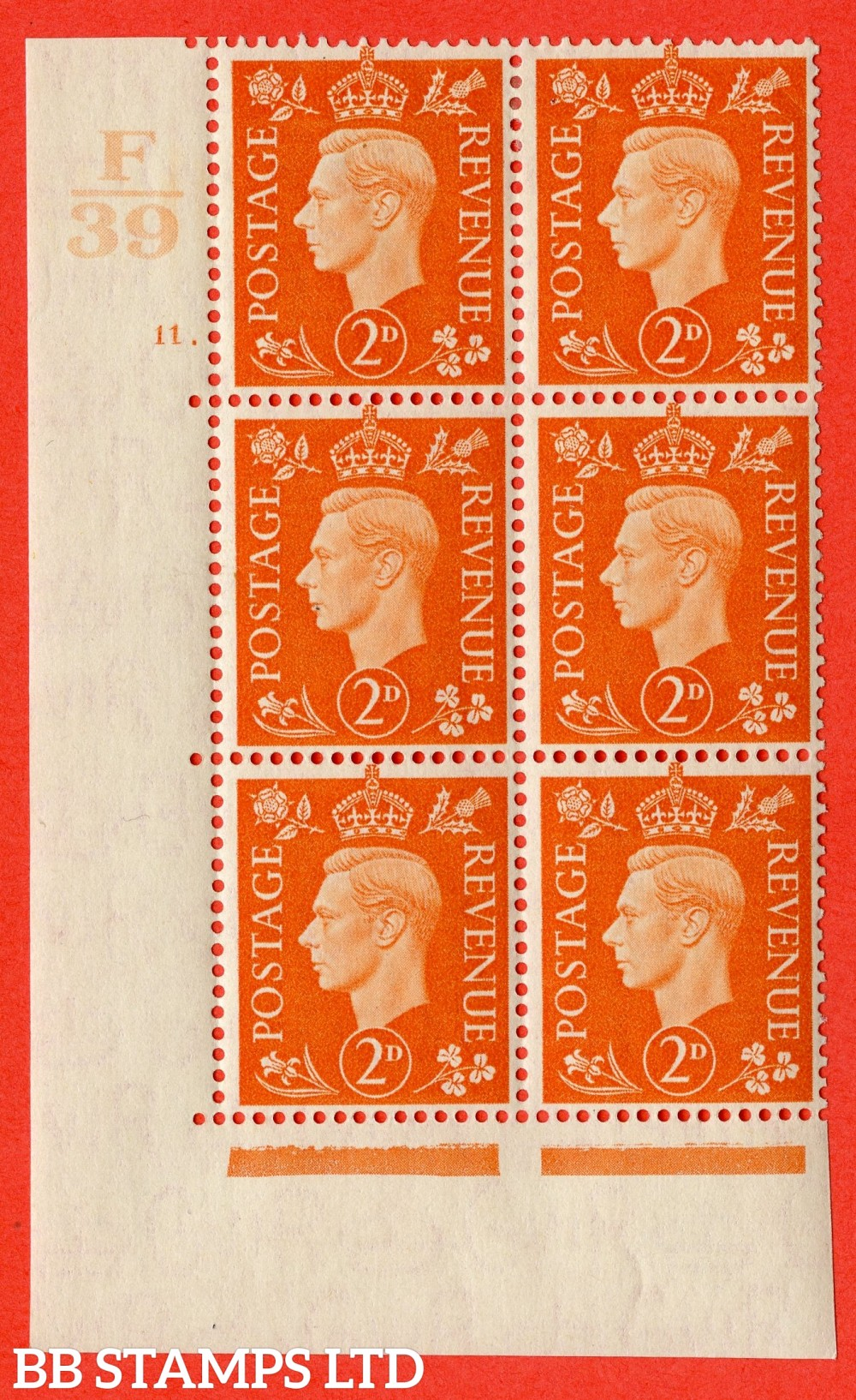 "SG. 465. Q10. 2d Orange. A fine lightly mounted mint "" Control F39 cylinder 11 dot "" control block of 6 with perf type 5 E/I."