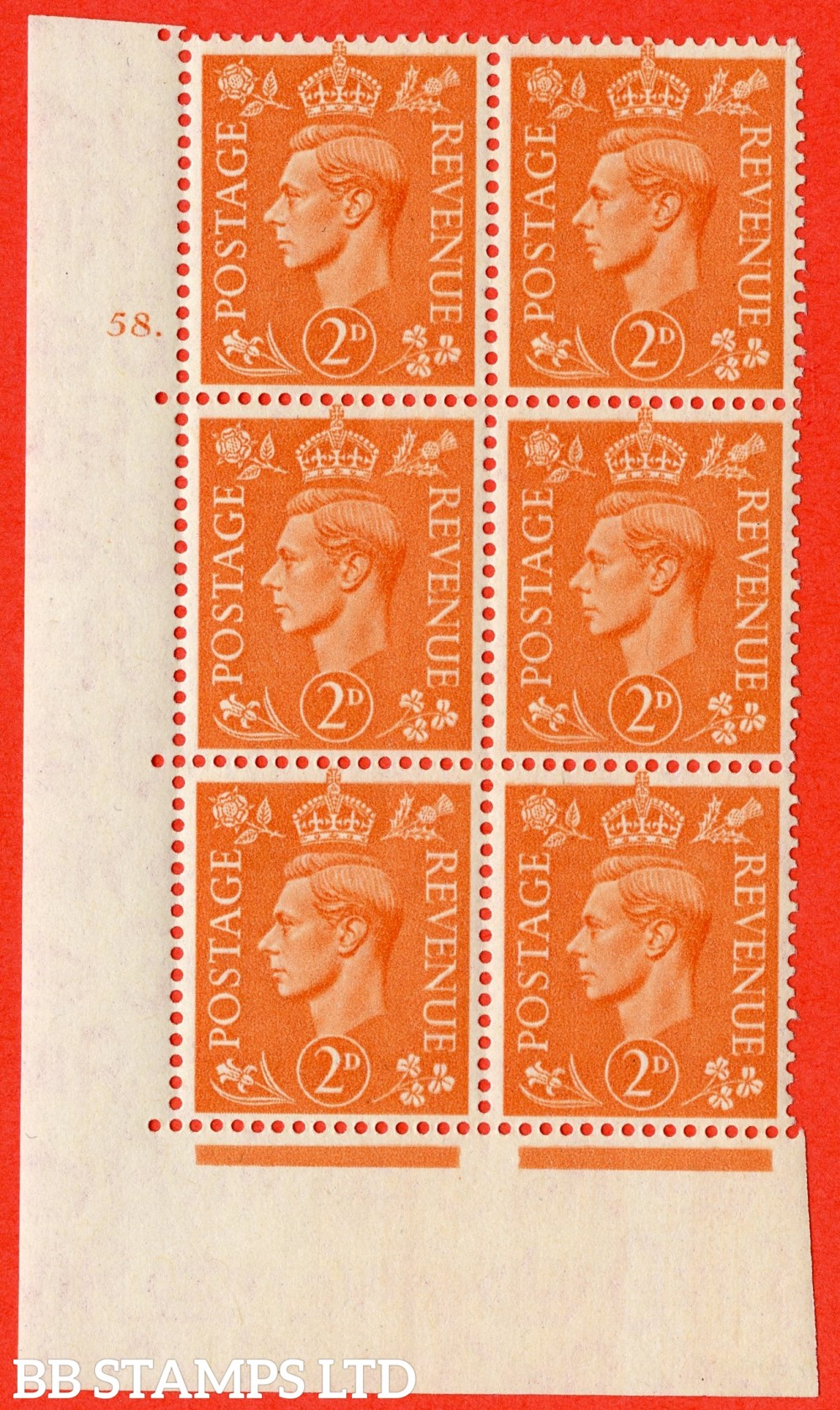"SG. 488. Q11. 2d Pale Orange. A superb UNMOUNTED MINT "" No Control cylinder 58 dot "" control block of 6 with perf type 5 E/I"
