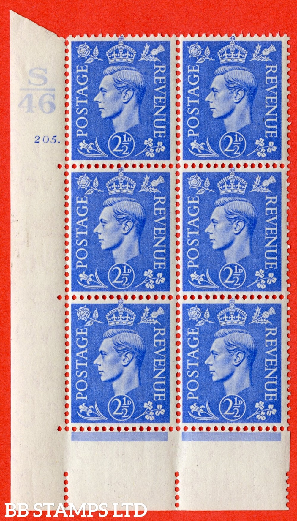 "SG. 489. Q14. 2½d Light ultramarine. A superb UNMOUNTED MINT "" Control S46 cylinder 205 dot "" control block of 6 with perf type 5 E/I."