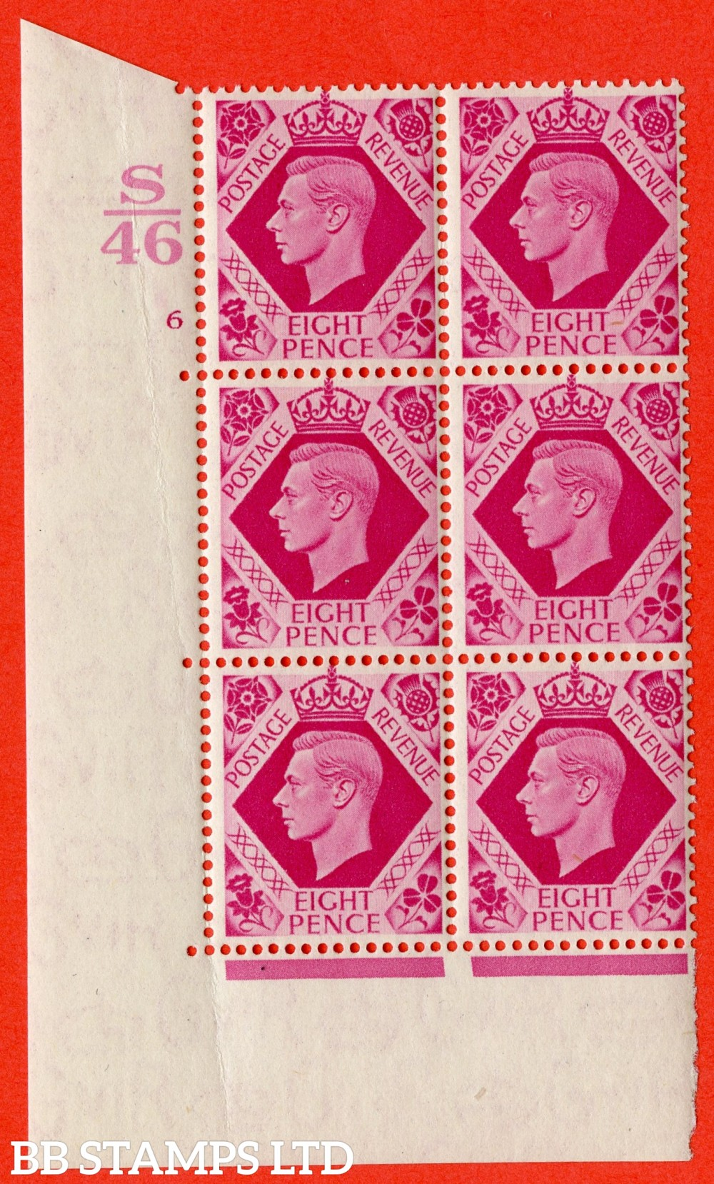 "SG. 472. Q24 b. 8d Bright Carmine. Asuperb UNMOUNTED MINT "" Control S46. Cylinder 6 no dot "" control block of 6 with perf type 5 E/I with listed variety "" Hole in Leaf "" Row 20/1"