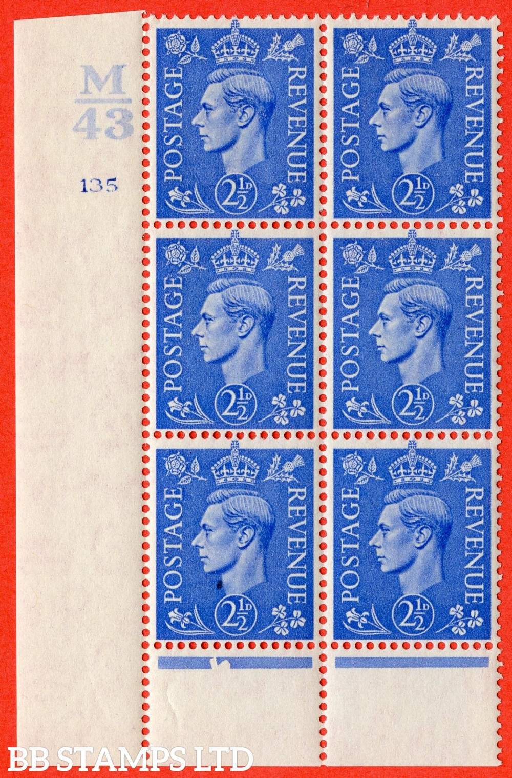 "SG. 489. Q14. 2½d Light ultramarine. A fine mounted mint "" Control M43 cylinder 135 no dot "" control block of 6 with perf type 6 I/P."