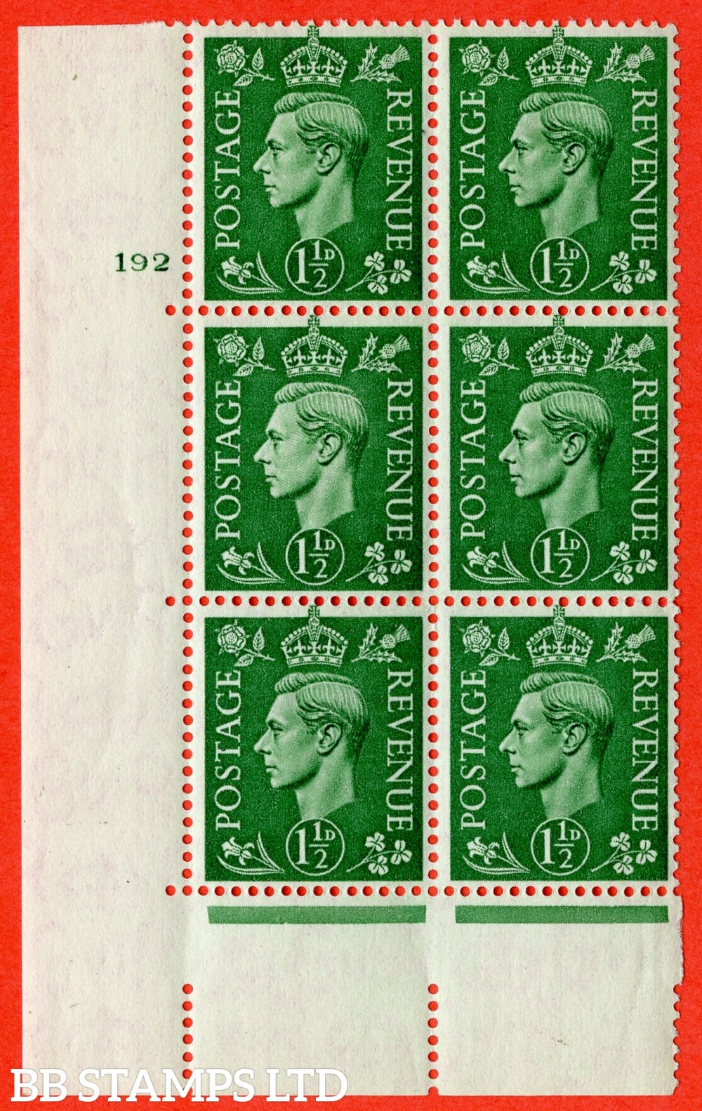 "SG. 505. Q9. 1½d Pale Green. A superb UNMOUNTED MINT "" No Control cylinder 192 no dot "" control block of 6 with perf type 5 E/I with listed variety "" retouched forehead "" Row 19/1."