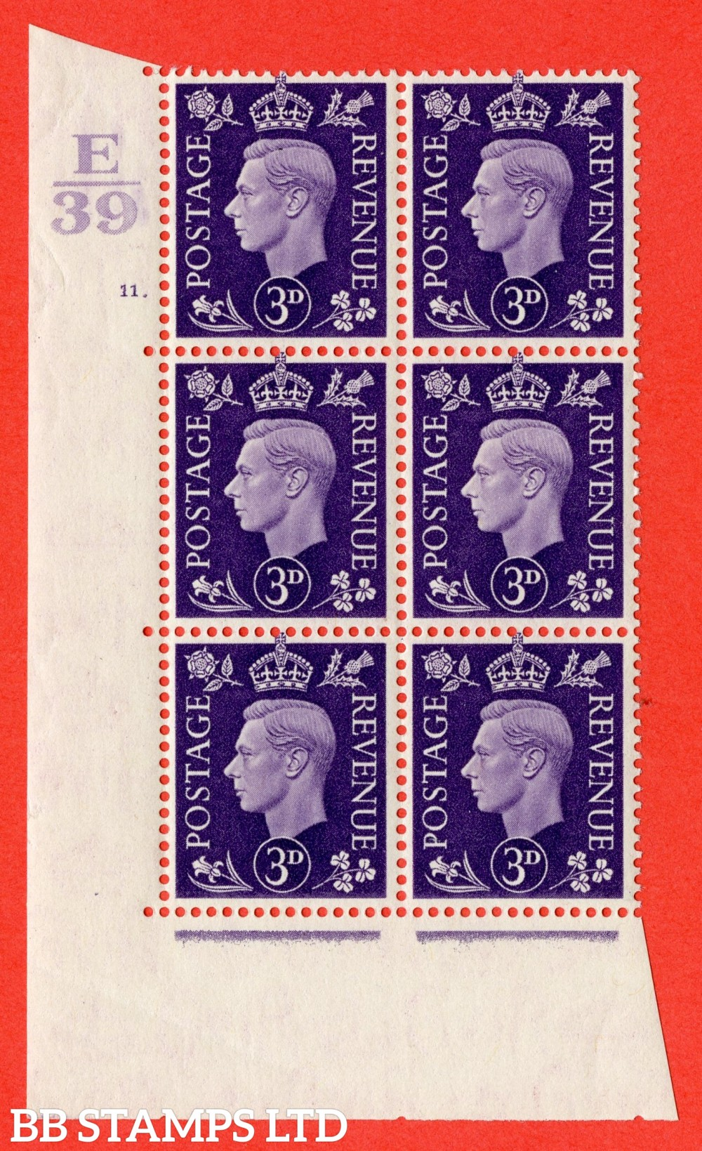 """SG. 467. Q16. 3d Violet. A superb UNMOUNTED MINT """" Control E39 cylinder 11 dot """" control block of 6 with perf type 5 E/I."""