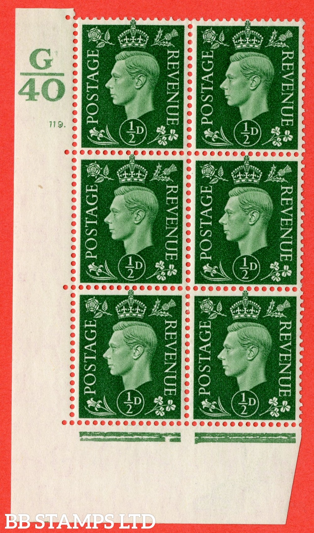 "SG. 462. Q1. ½d Green. A fine lightly mounted mint "" Control G40 cylinder 119 dot "" block of 6 with perf type 5 E/I with marginal rule."