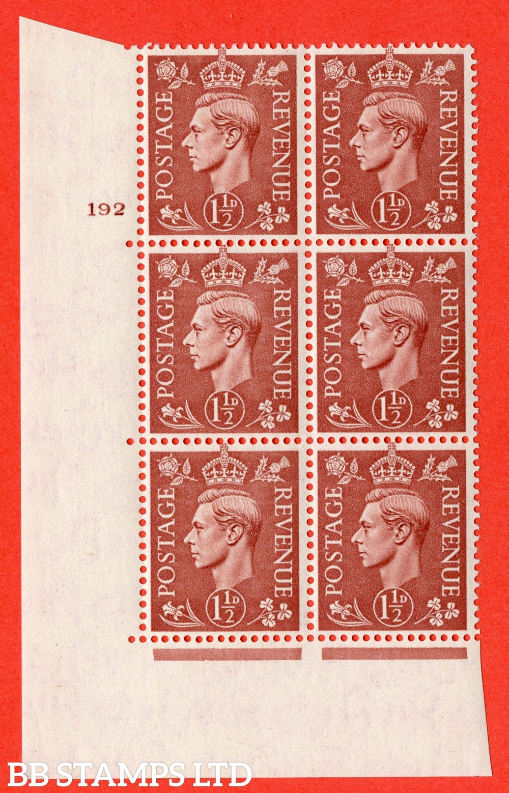 "SG. 487. Q8 c. 1½d Pale Red-Brown. A superb UNMOUNTED MINT "" No Control cylinder 191 no dot "" control block of 6 with perf type 5 E/I with listed variety "" Retouched Forehead "" Row 19/1."