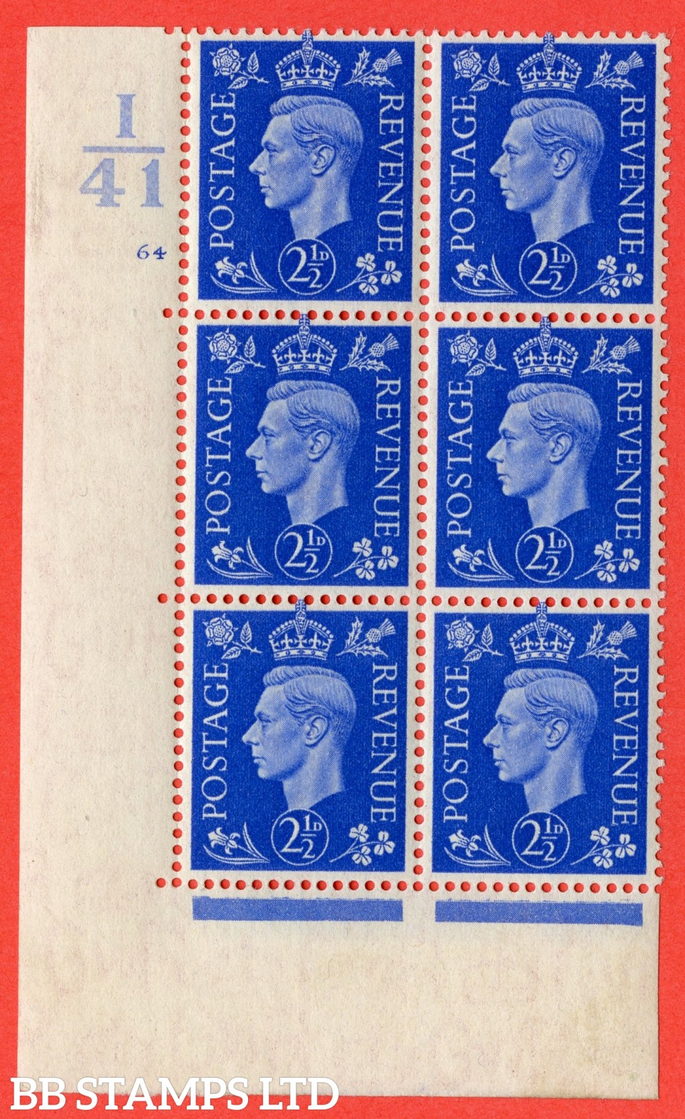 """SG. 466. d. Q13. 2½d Ultramarine.  A  superb UNMOUNTED MINT """" Control I41 cylinder 64 no dot """" control block of 6 with perf type 5 E/I."""