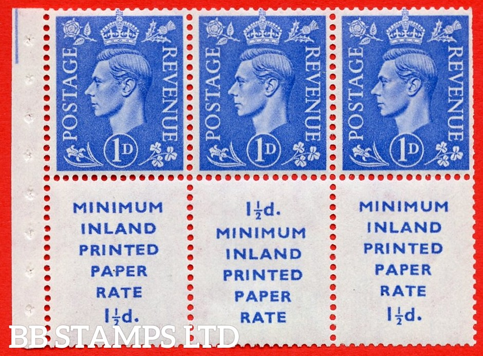 """SG. 504d. QB18. 1d ultramarine. A fine MOUNTED MINT example with """" MINIMUM INLAND PRINTED PAPER RATE """" 17 mm high. Perf type """" Ieb """". Trimmed Perf."""