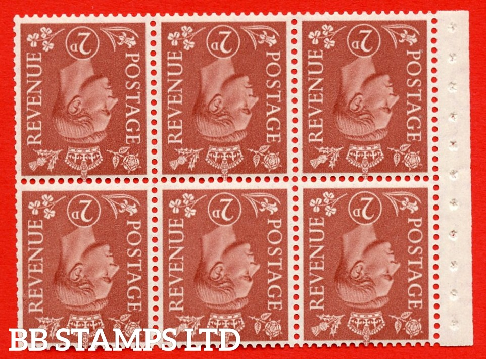 """SG. 506dw. QB31a. 2d pale red brown. A superb MOUNTED MINT. INVERTED WATERMARK complete booklet pane. Perf type """" I """". Trimmed Perfs."""