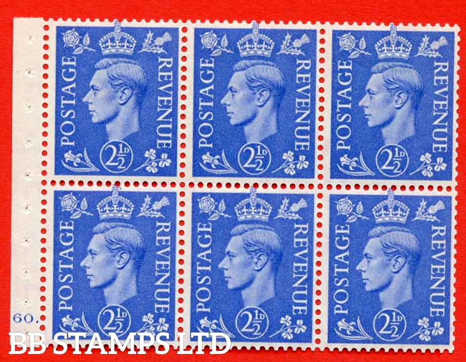 """SG. 489f. QB33. 2½d blue. A fine MOUNTED MINT complete Cylinder pane of 6 J60 dot. Perf type """"B6(IE)"""". Good Perfs."""
