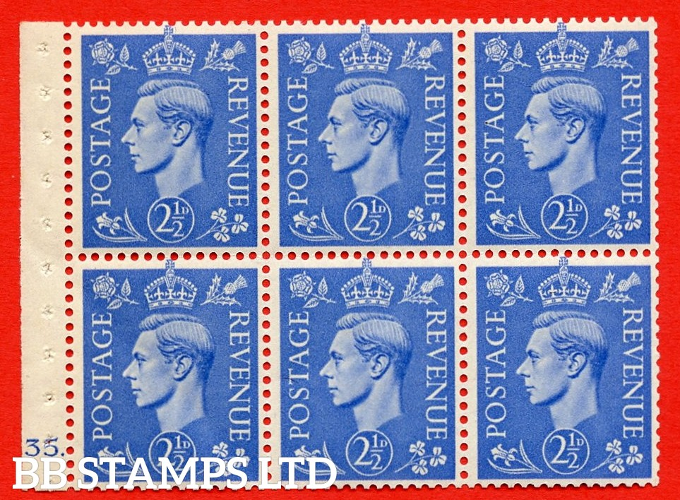 """SG. 489f. QB33. 2½d blue. A fine UNMOUNTED MINT complete Cylinder pane of 6 J35 dot. Perf type """"B6(IE)"""". Good Perfs."""