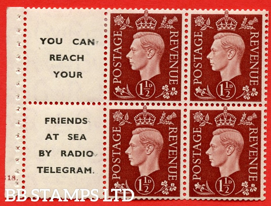 """QB23 Perf Type B4A(I) (12) 1½d Red-Brown x 6 Pane, MOUNTED MINT. Cylinder Pane G18 dot ( SG. 464b ) Perf type B4A(I). """" You can reach your / friends at sea by Radio Telegram  """". Good Perfs."""