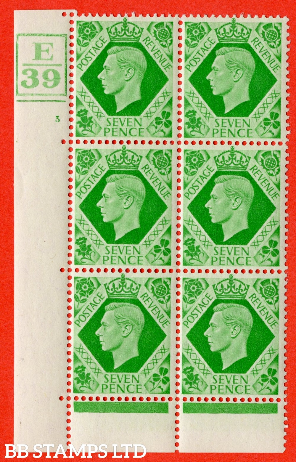 """SG. 471. Q23. 7d Emerald-Green. A fine lightly mounted mint """" Control E39. Box and 2 Bars. Cylinder 3 no dot """" control block of 6 with perf type 6B E/P."""