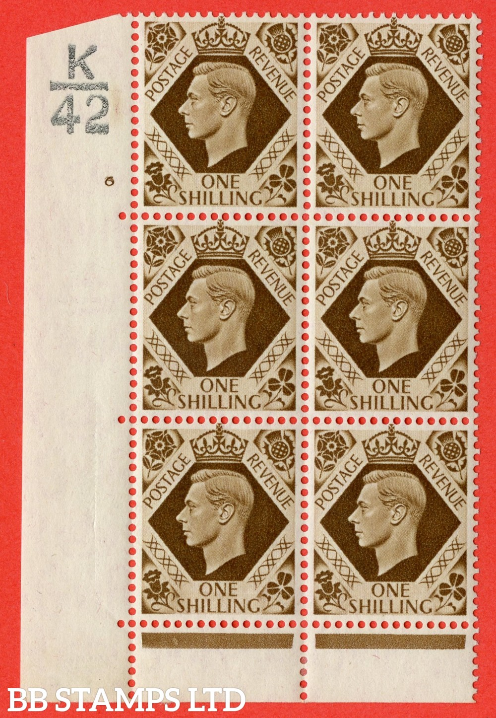 "SG. 475. Q28. 1/- Bistre-Brown. A lightly mounted mint "" Control  K42 cylinder 6 no dot "" control block of 6 with perf type 6B E/P"
