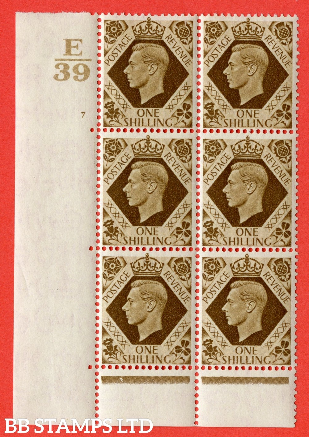 "SG. 475. Q28. 1/- Bistre-Brown. A lightly mounted mint "" Control  E39 cylinder 7 no dot "" control block of 6 with perf type 6B E/P"