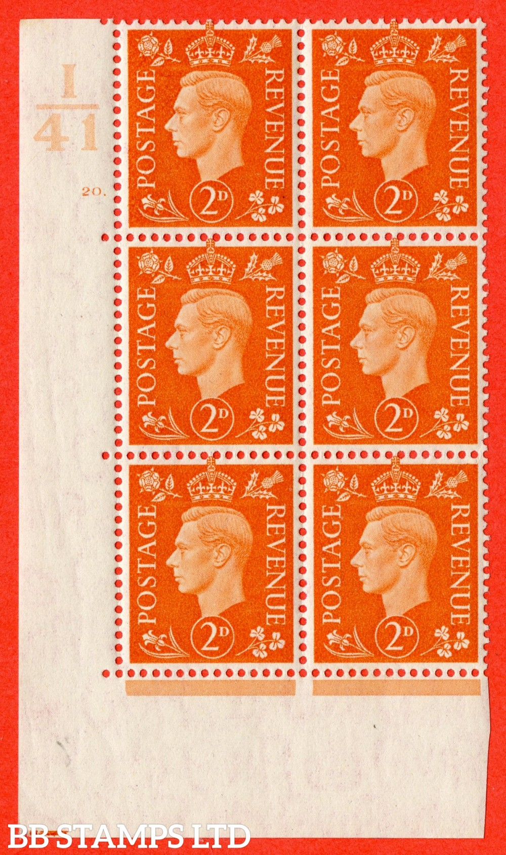 "SG. 465. Q10. 2d Orange. A very fine lightly mounted mint "" Control I41 cylinder 20 dot "" control block of 6 with perf type 5 E/I."
