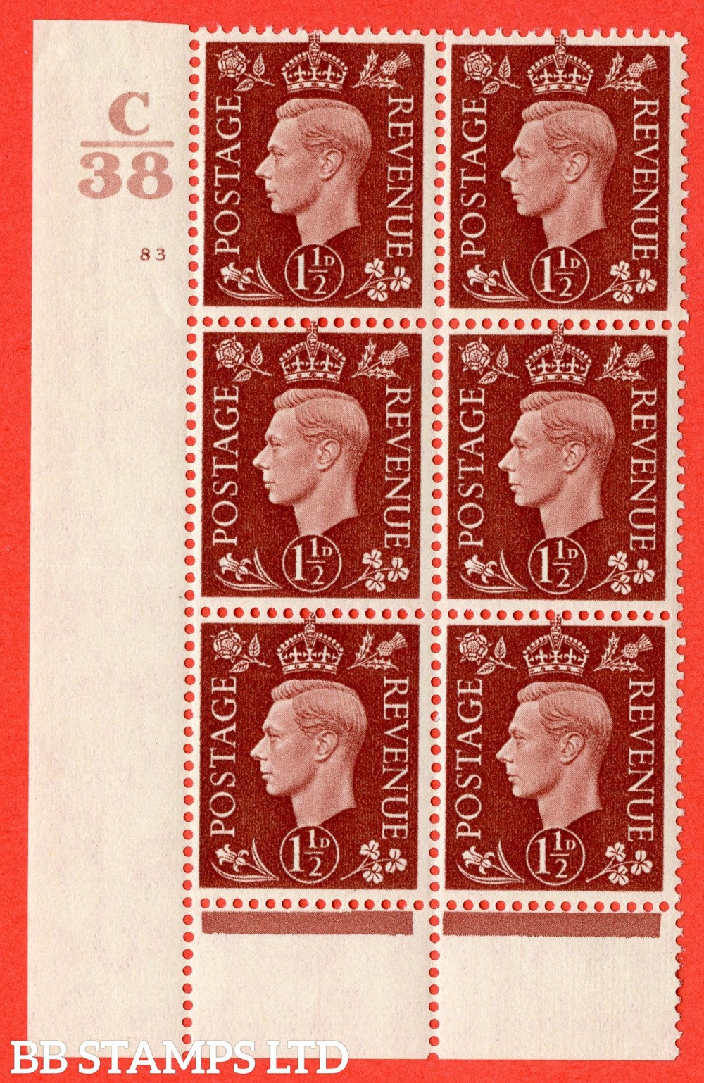 """SG. 464. Q7. 1½d Red-Brown. A fine lightly mounted mint """" Control C38 cylinder 83 no dot """" block of 6 with perf type 6 I/P."""