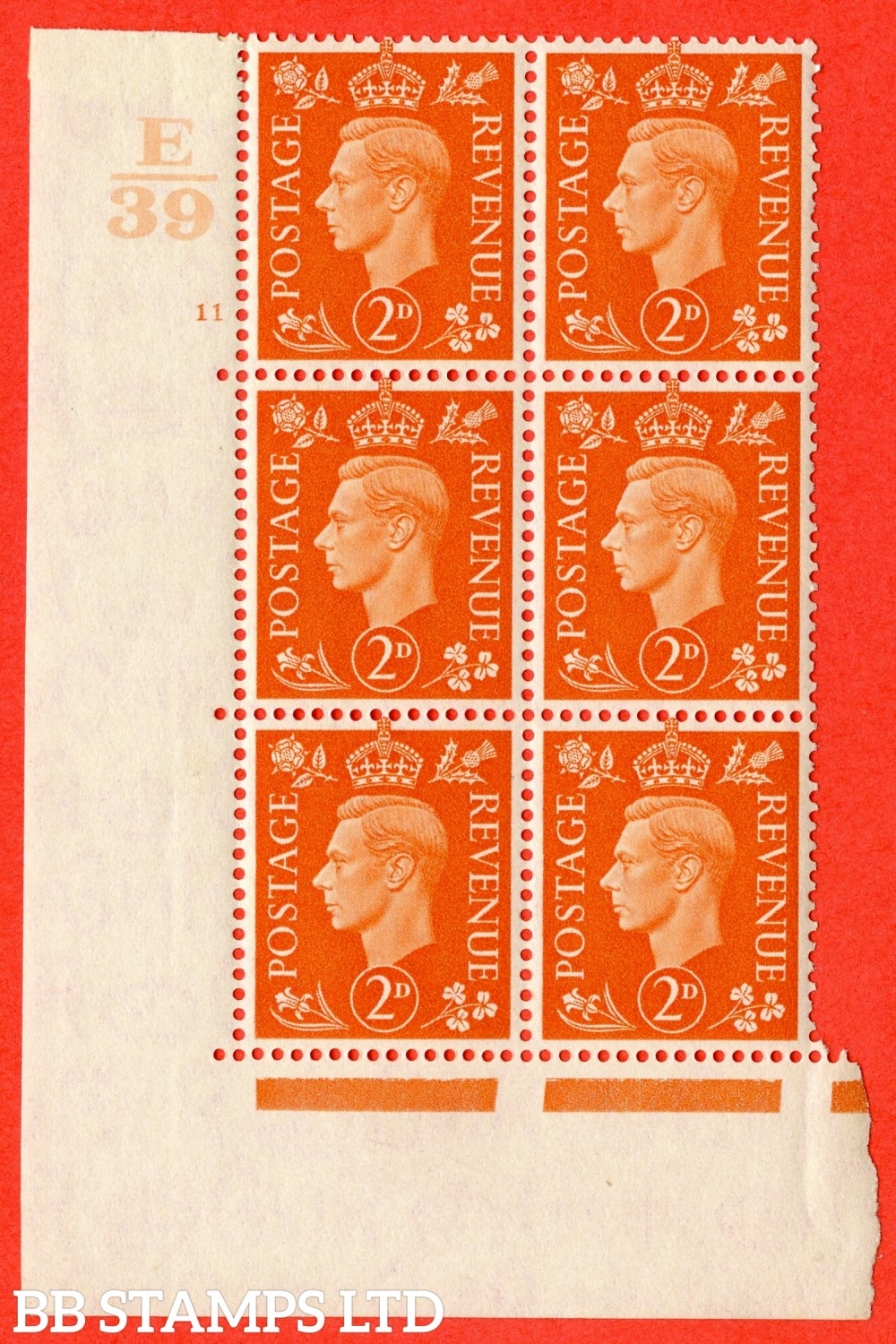"SG. 465. Q10. 2d Orange. A superb UNMOUNTED MINT"" Control E39 cylinder 11 no dot "" control block of 6 with perf type 5 E/I."