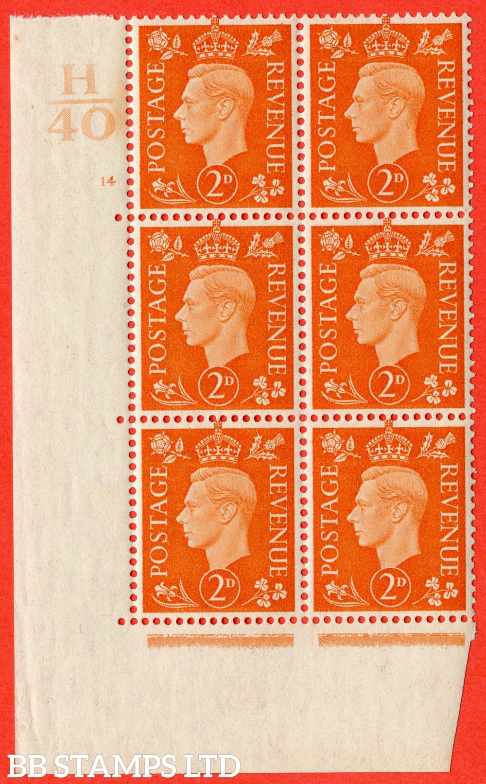 "SG. 465. Q10. 2d Orange. A superb UNMOUNTED MINT "" Control H40 cylinder 14 no dot "" control block of 6 with perf type 5 E/I."