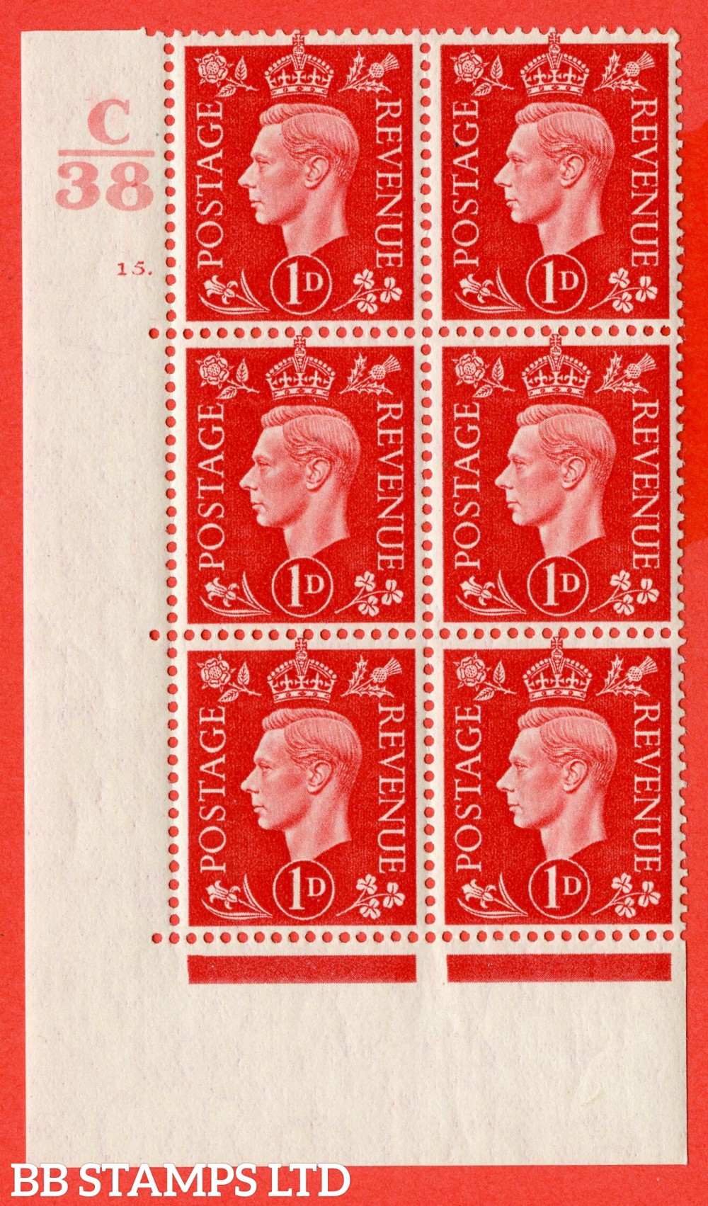 "SG. 463. Q4. 1d Scarlet. A superb UNMOUNTED MINT "" Control C38 cylinder 15 dot "" block of 6 with perf type 5 E/I."