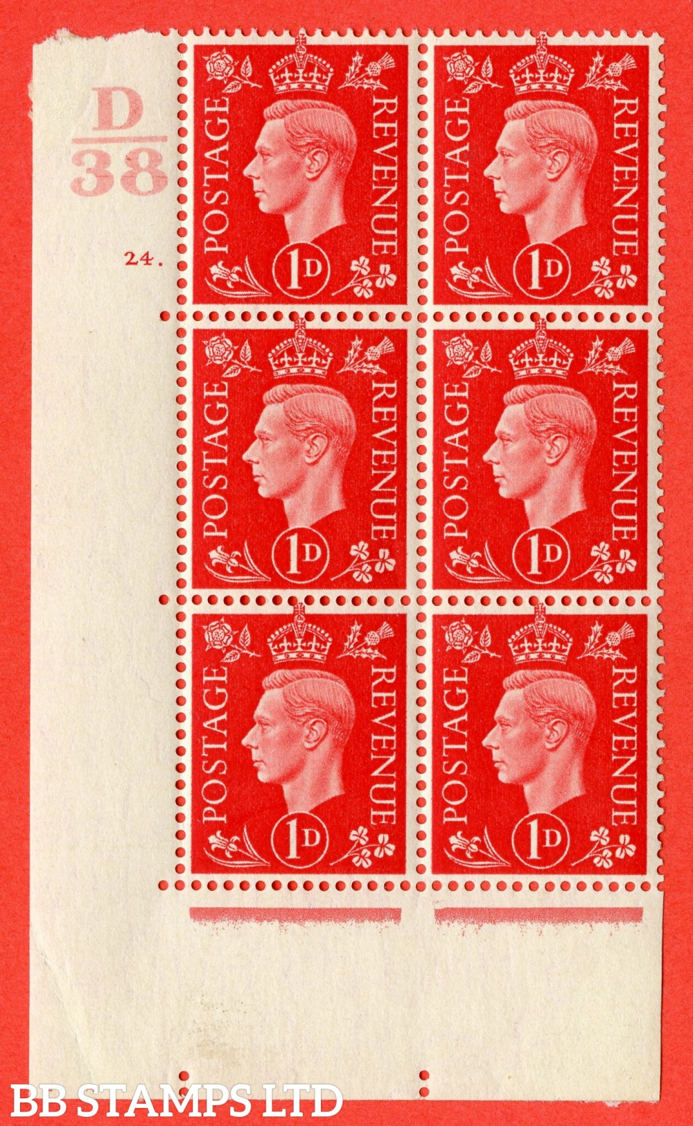 "SG. 463. Q4. 1d Scarlet. A fine lightly mounted mint "" Control D38 cylinder 24 dot "" block of 6 with perf type 5 E/I."