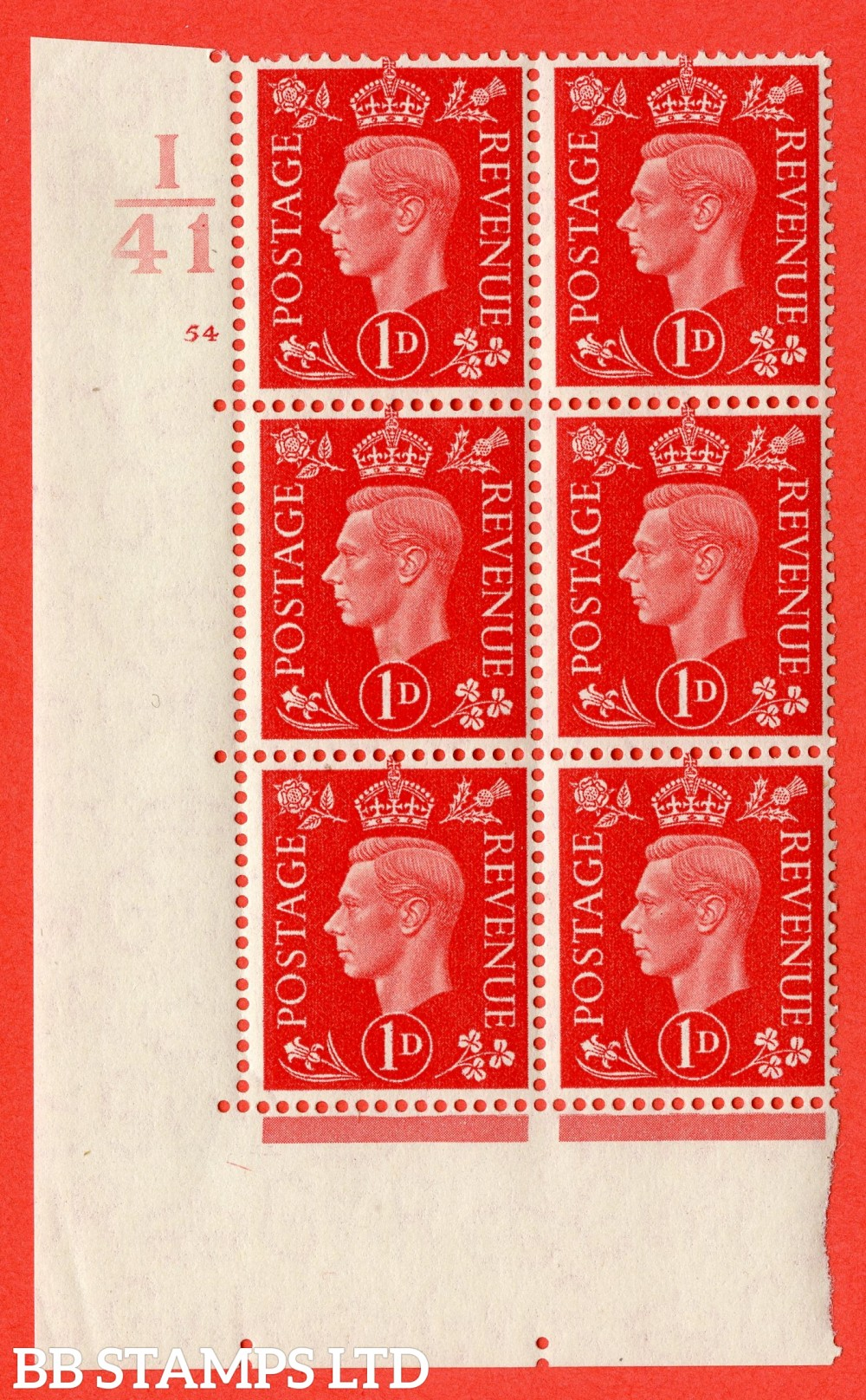 "SG. 463. Q4. 1d Scarlet. A superb UNMOUNTED MINT "" Control I41 cylinder 54 no dot "" block of 6 with perf type 5 E/I."