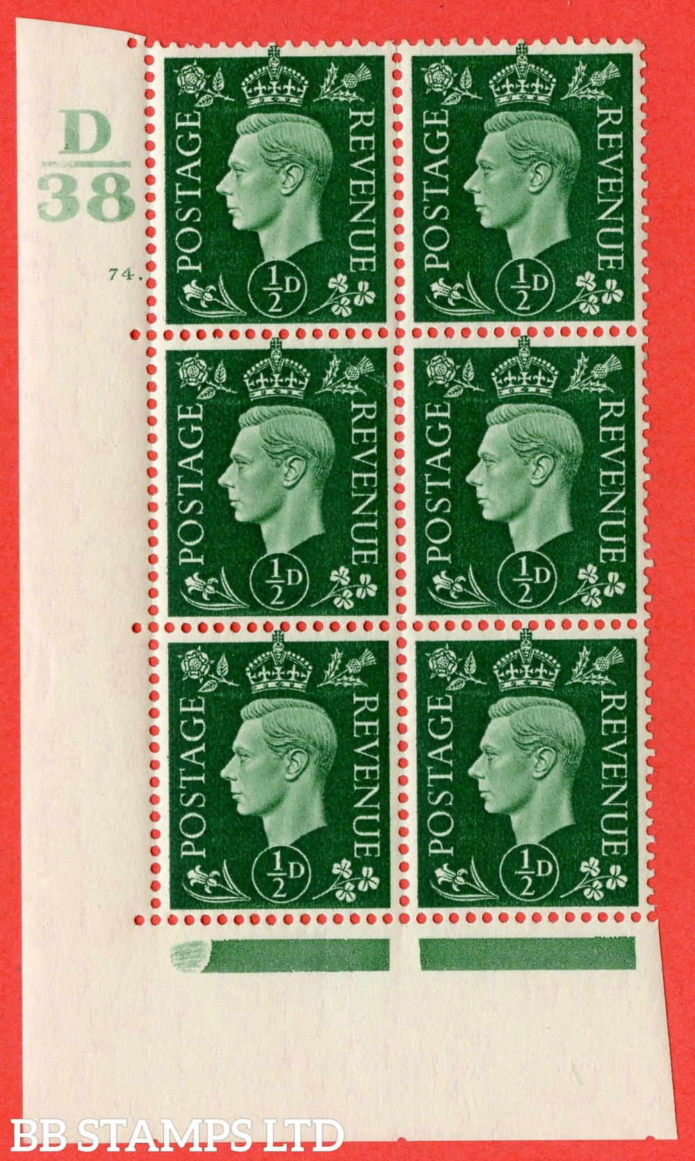 """SG. 462. Q1. ½d Green. A fine lightly mounted mint """" Control D38 cylinder 74 no dot """" block of 6 with perf type 5 E/I."""
