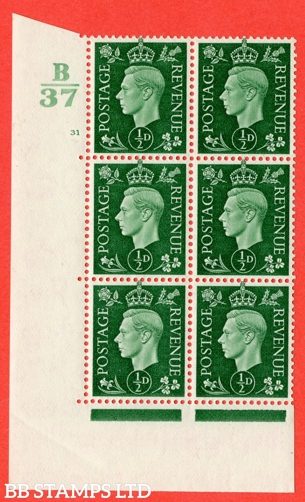 "SG. 462. Q1. ½d Green. A superb UNMOUNTED MINT "" Control B37 cylinder 31 no dot "" block of 6 with perf type 5 E/I."