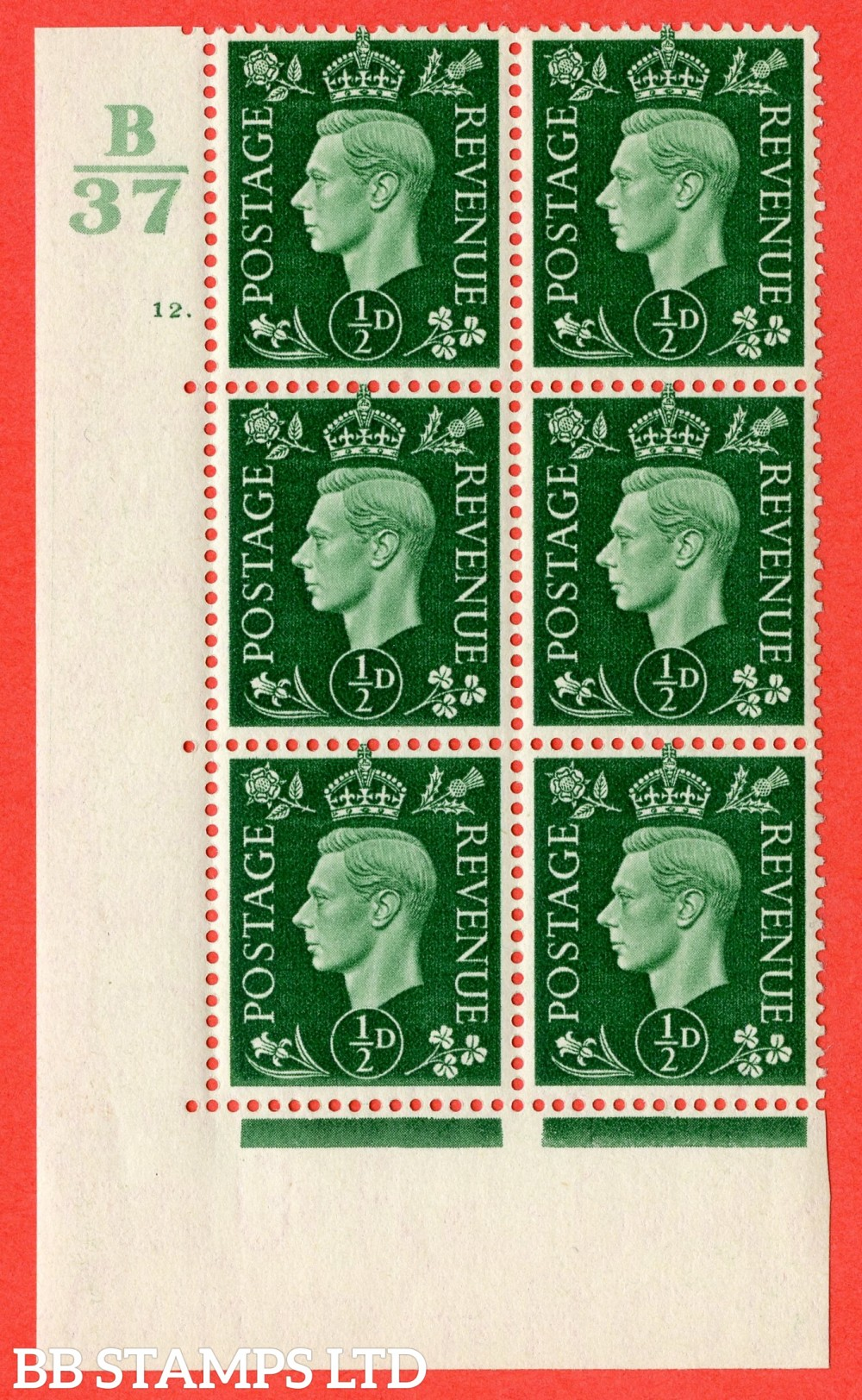 "SG. 462. Q1. ½d Green. A superb UNMOUNTED MINT "" Control B37 cylinder 12 dot "" block of 6 with perf type 5 E/I."