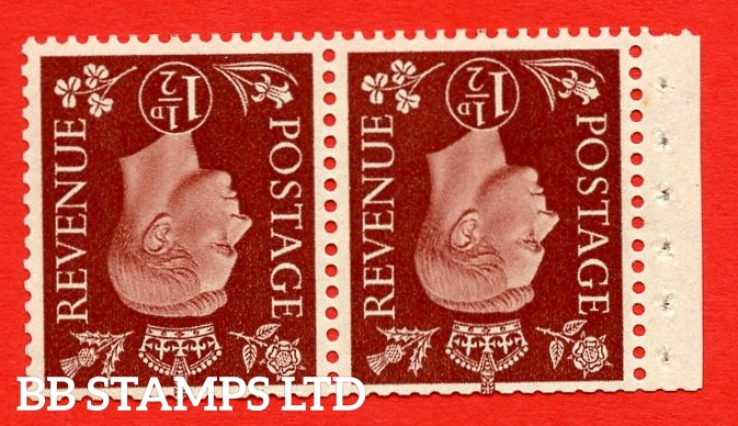 """SG. 464 dw. QB22 a. 1½d Red - Brown. INVERTED WATERMARK. A fine MOUNTED MINT complete booklet pane. Perf type """" P """". Good Perfs."""