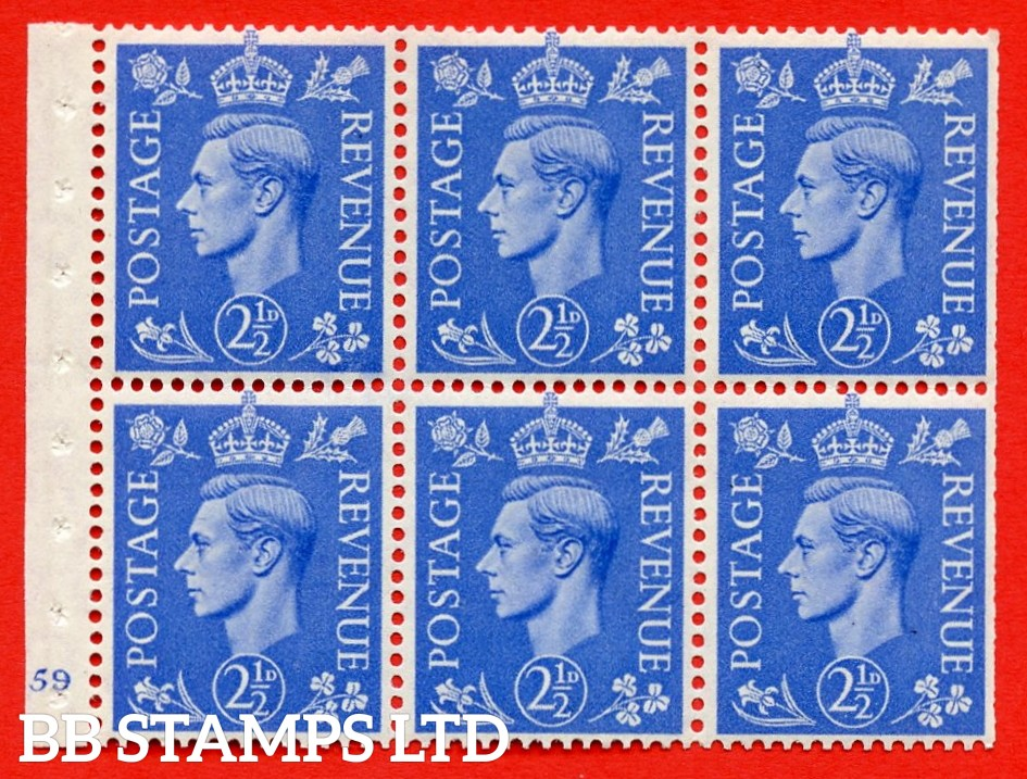 """SG. 489f. QB33. 2½d blue. A fine MOUNTED MINT complete Cylinder pane of 6 J59 No dot. Perf type """"B3(I)"""". Trimmed Perfs."""
