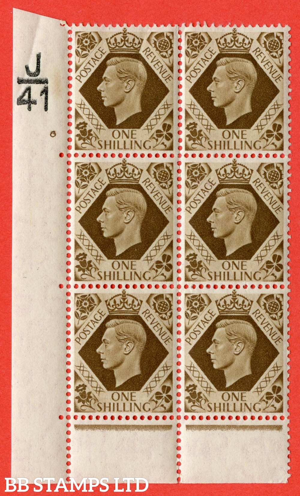 "SG. 475. Q28. 1/- Bistre-Brown. A Superb UNMOUNTED MINT "" Control  J41 cylinder 6 no dot "" control block of 6 with perf type 6B E/P"