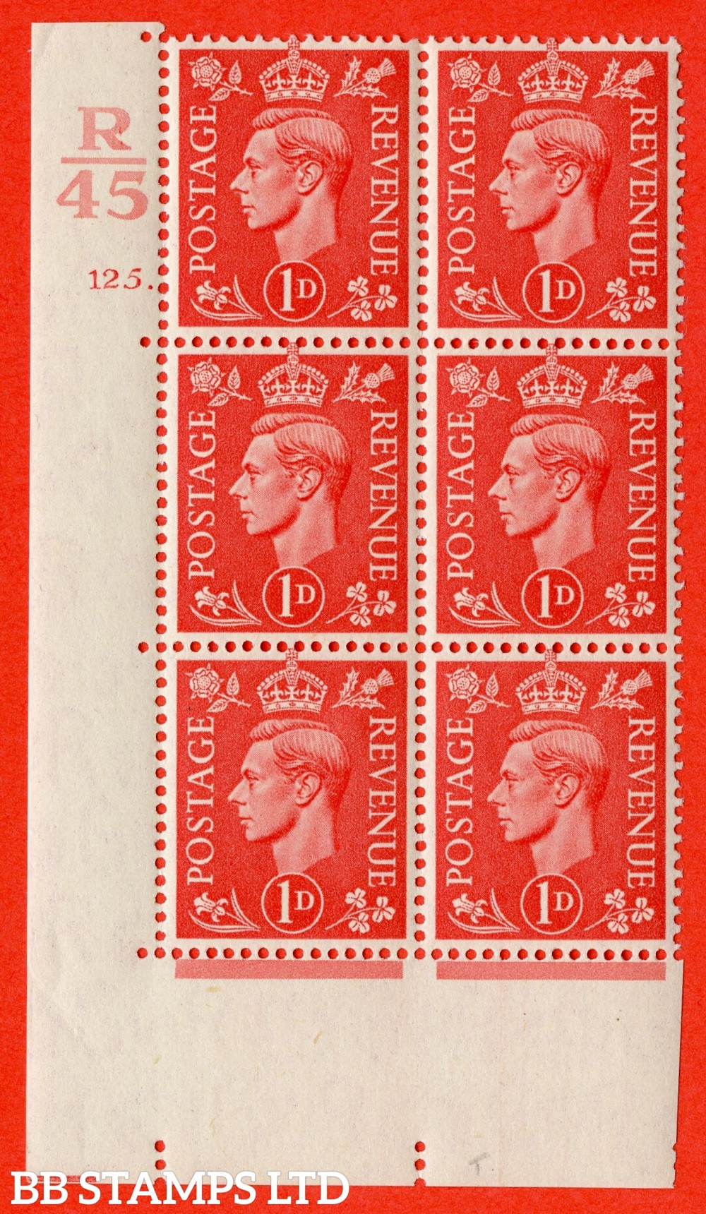 "SG. 486. Q5. 1d Pale scarlet. A superb UNMOUNTED MINT "" Control R45  cylinder 125 dot "" control block of 6 with perf type 5 E/I."