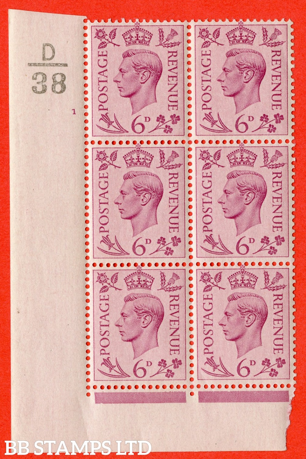 """SG. 470. Q22. 6d Purple. A fijne lightly mounted mint """" Control D38 cylinder 1 no dot """" control block of 6 with perf type 2 E/I."""
