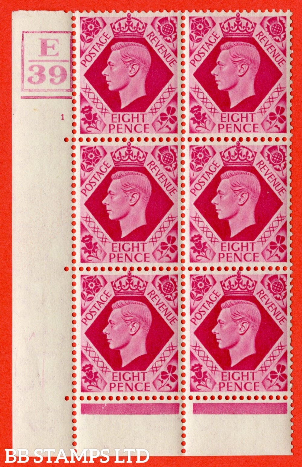 "SG. 472. Q24. 8d Carmine. A Superb UNMOUNTED MINT "" Control E39 Box and Bar. Cylinder 1 no dot "" control block of 6 with perf type 6B E/P"