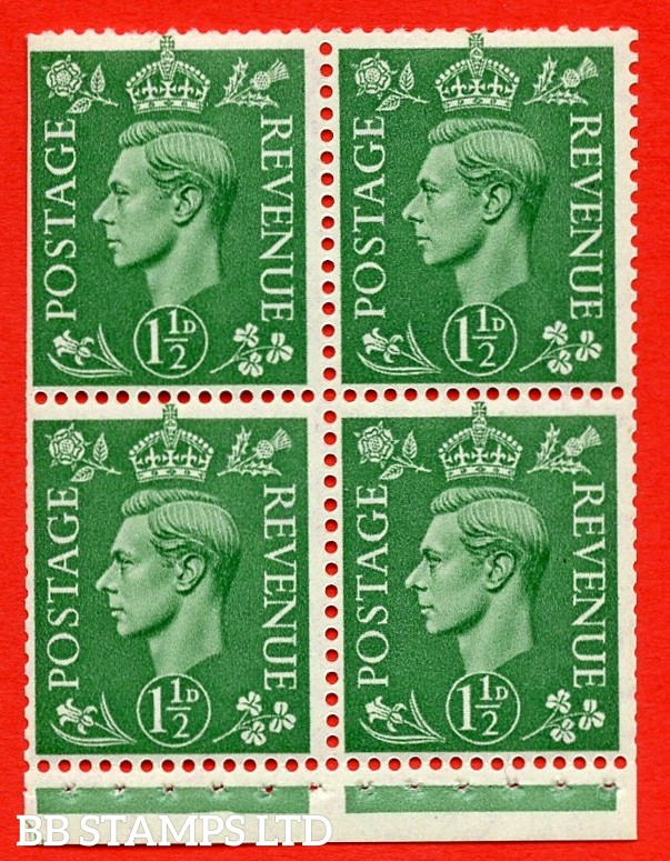 """SG. 505c. QB27a. 1½d pale green. A superb UNMOUNTED MINT complete booklet pane. Perf type """" I """". Trimmed Perfs."""