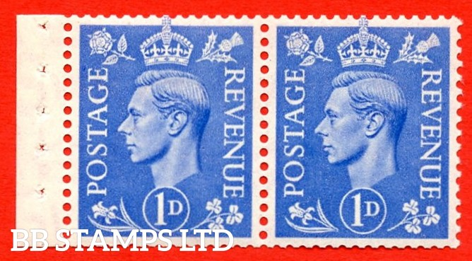 """SG. 504. QB17. 1d ultramarine. A fine UNMOUNTED MINT complete booklet pane of 2. Perf type """" I """". Good Perfs."""