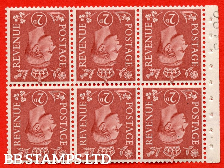 """SG. 506dw. QB31a. 2d pale red brown. A superb UNMOUNTED MINT. INVERTED WATERMARK complete booklet pane. Perf type """" I """". Good Perfs."""