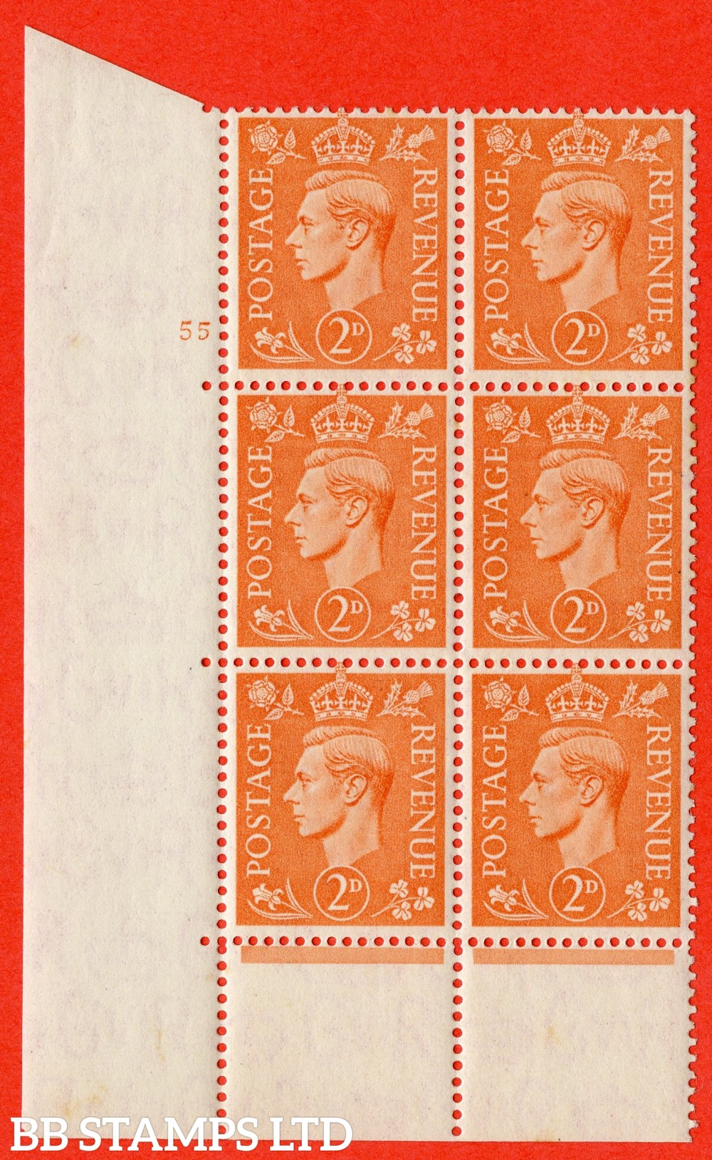 """SG. 488. Q11. 2d Pale Orange. A superb UNMOUNTED MINT """" No Control cylinder 53 no dot """" control block of 6 with perf type 5 E/I with perf encroachment."""