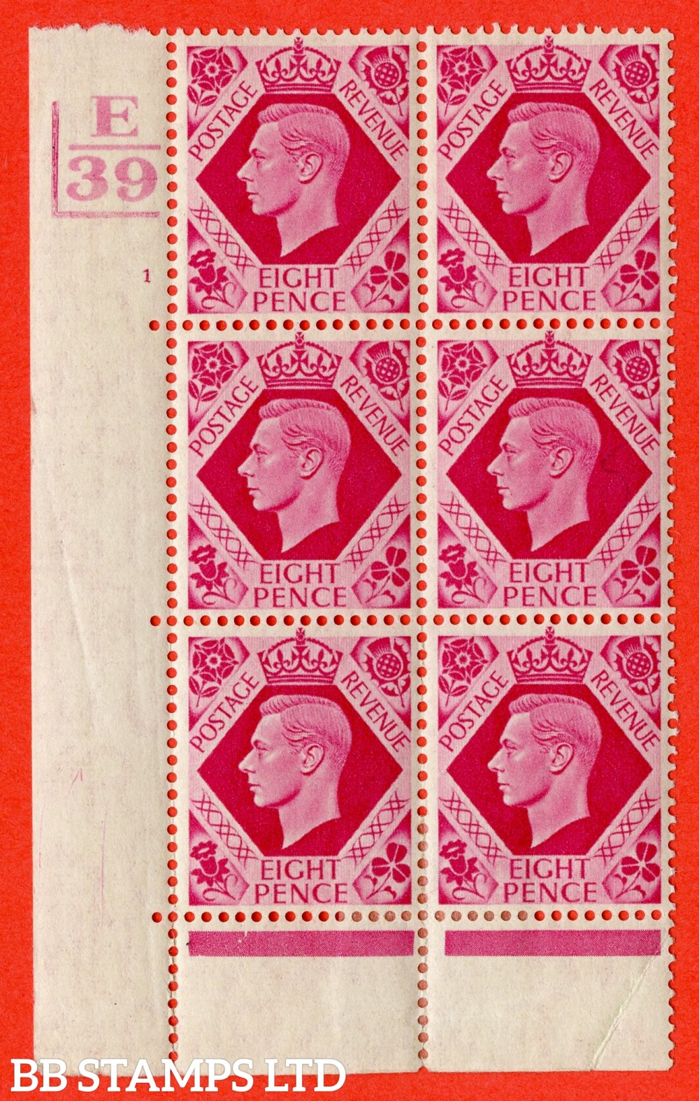"SG. 472. Q24. 8d Bright Carmine. A fine lightly mounted mint "" Control E39. 2 Bars Cylinder 1 no dot "" control block of 6 with perf type 6B E/P"