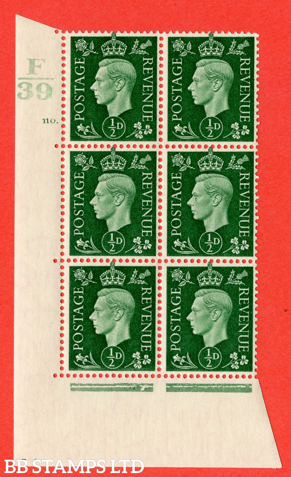 "SG. 462. Q1. ½d Green. A superb UNMOUNTED MINT "" Control F39 cylinder 110 dot "" block of 6 with perf type 5 E/I with marginal rule."