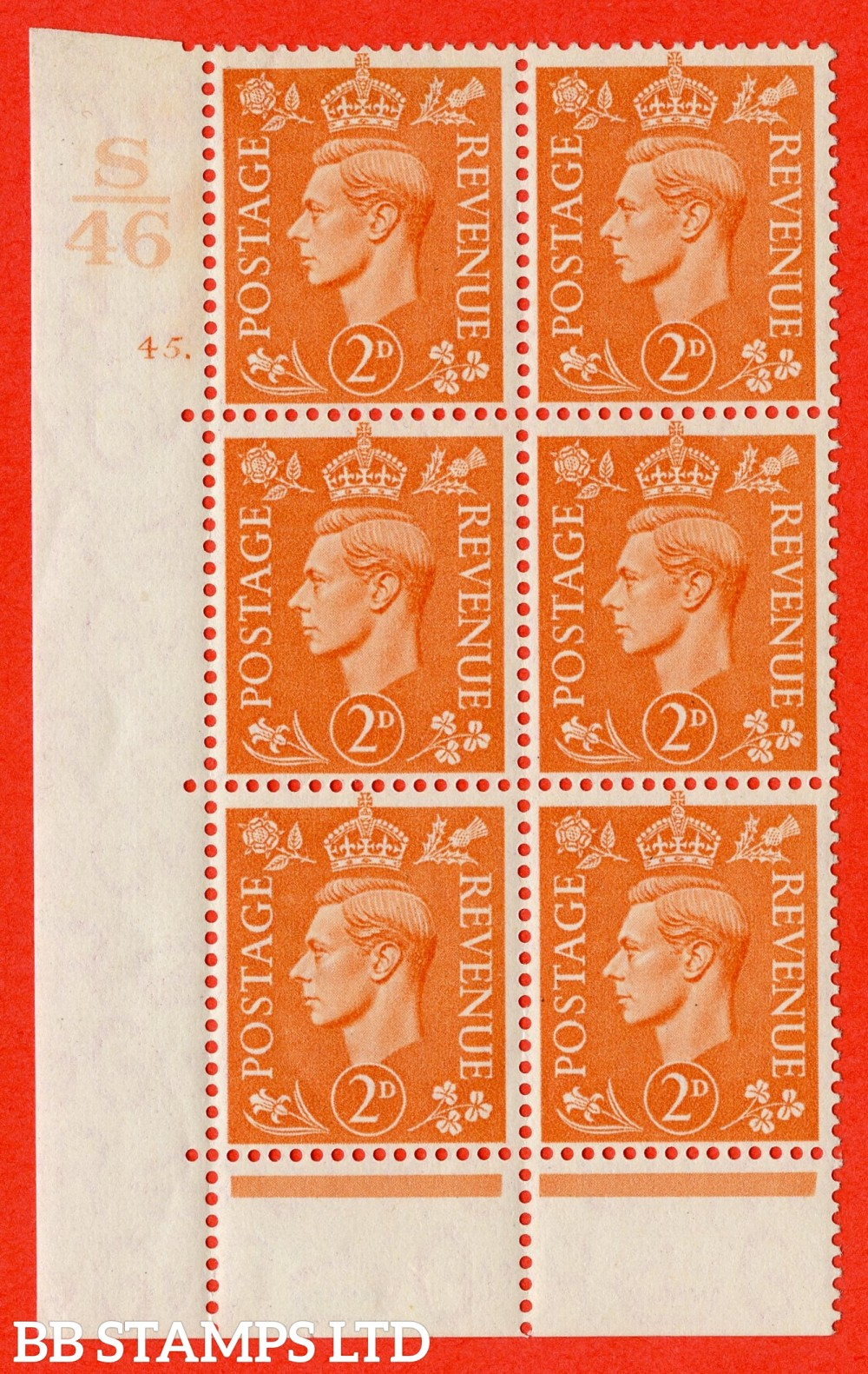 "SG. 488. Q11. 2d Pale Orange. A fine lightly mounted mint "" Control S46 cylinder 45 dot "" control block of 6 with perf type 6 E/P."