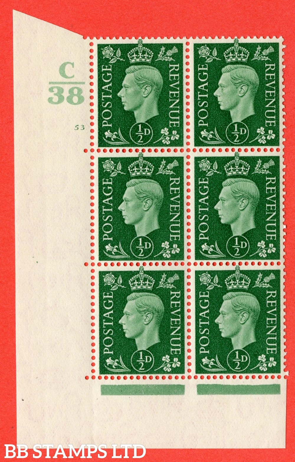 "SG. 462. Q1. ½d Green. A superb UNMOUNTED MINT "" Control C38 cylinder 53 no dot "" block of 6 with perf type 5 E/I with marginal rule."