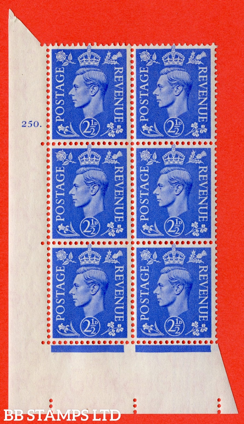 "SG. 489. Q14. 2½d Light ultramarine. A superb UNMOUNTED MINT "" No Control cylinder 250 dot "" control block of 6 with perf type 5 E/I"