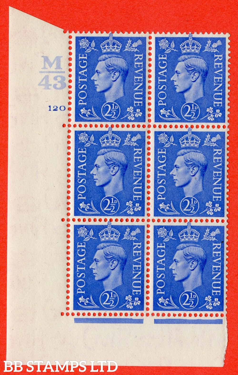 "SG. 489. Q14. 2½d Light ultramarine. A superb UNMOUNTED MINT "" Control M43 cylinder 120 no dot "" control block of 6 with perf type 5 E/I."