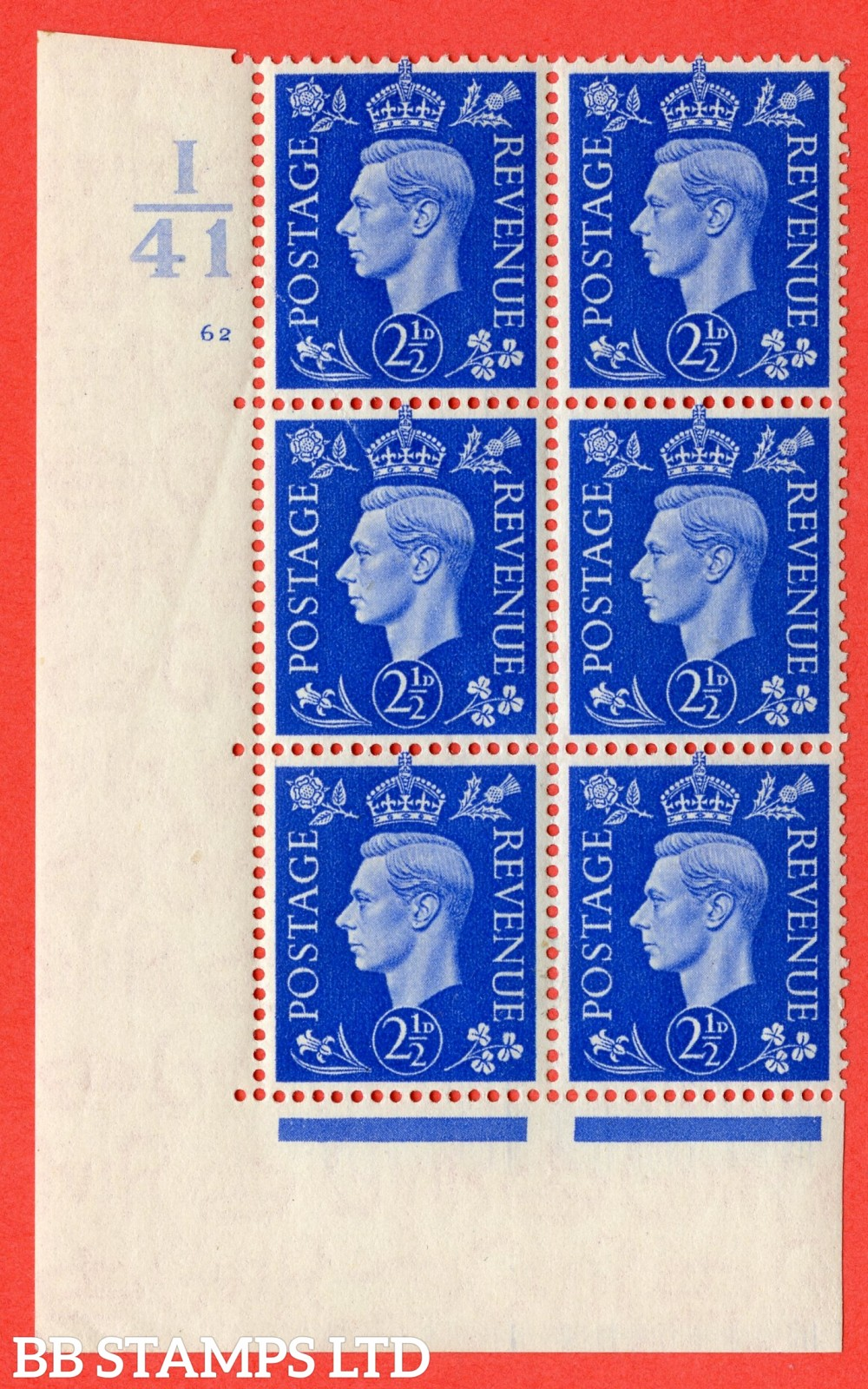 """SG. 466. d. Q13. 2½d Ultramarine.  A fine lightly mounted mint """" Control I41 cylinder 62 no dot """" control block of 6 with perf type 5 E/I."""