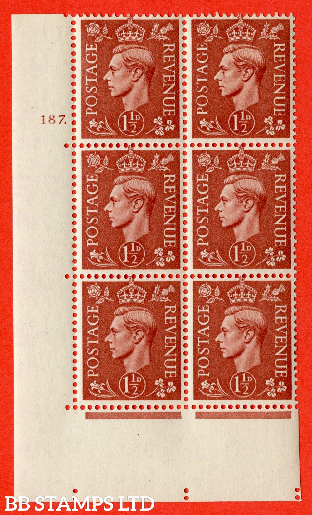 "SG. 487. Q8. 1½d Pale Red-Brown. A superb UNMOUNTED MINT "" No Control cylinder 187 dot "" control block of 6 with perf type 5 E/I."
