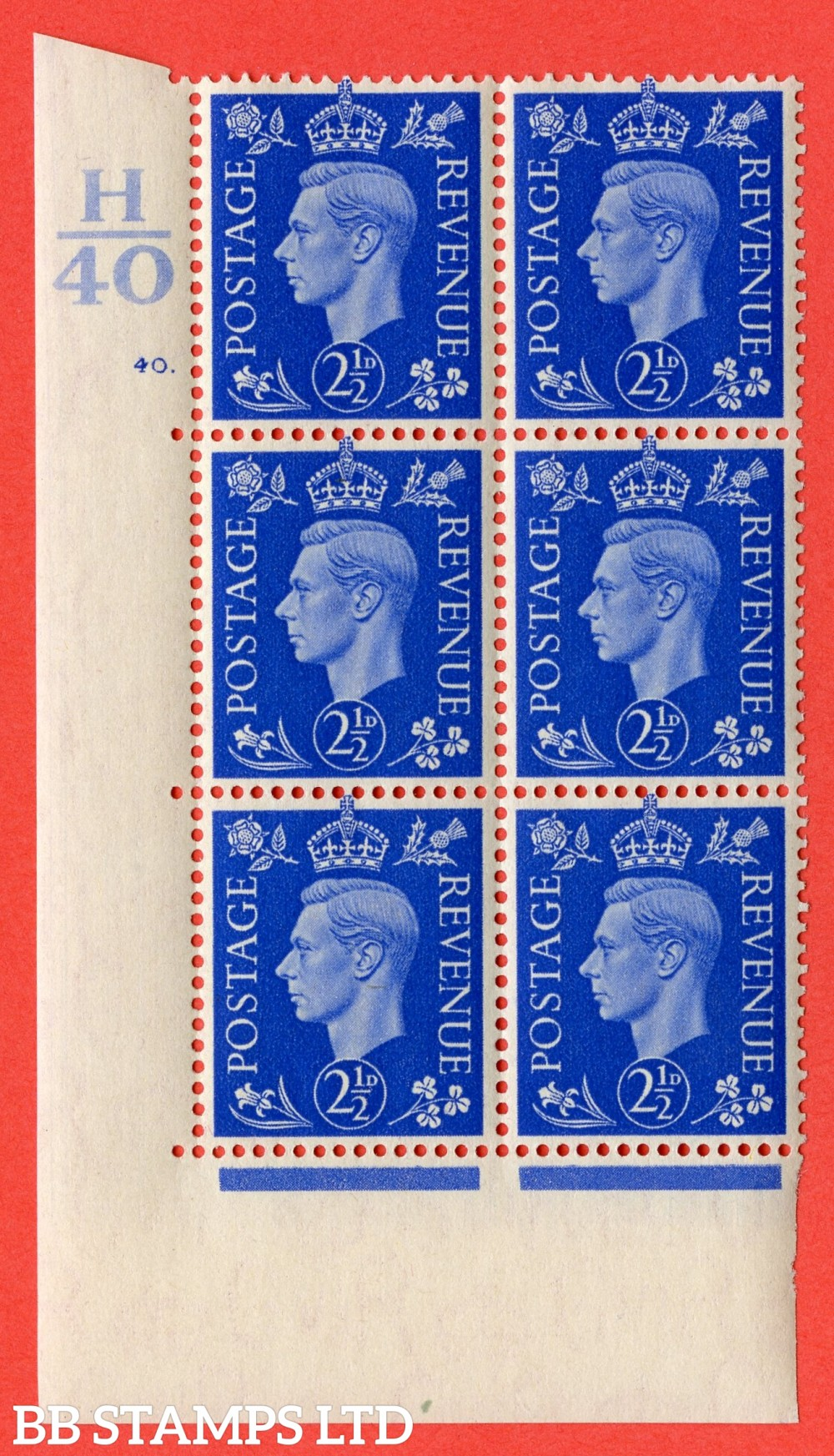 "SG. 466. Q13. 2½d Ultramarine. A superb UNMOUNTED MINT "" Control H40 cylinder 40 dot "" control block of 6 with perf type 5 E/I."